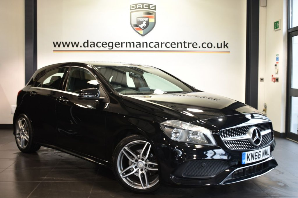 """USED 2016 66 MERCEDES-BENZ A CLASS 1.5 A 180 D AMG LINE 5DR 107 BHP Finished in a stunning cosmos metallic black styled with 18"""" alloys. Upon opening the drivers door you are presented with half leather interior, full service history, bluetooth, reversing camera, smartphone integration package, cruise control, rain sensors, AMG styling package, multi functional steering wheel, attention assist, auto climate control, ULEZ EXEMPT"""