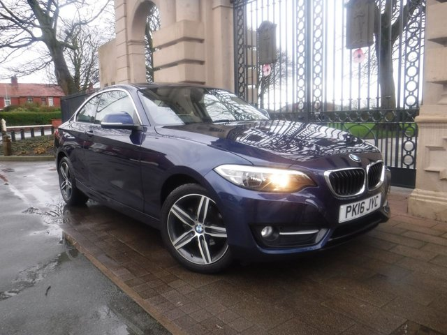 USED 2016 16 BMW 2 SERIES 1.5 218I SPORT 2d 134 BHP £1850 WORTH OF ADDED EXTRAS*LEATHER*HEATED SEATS*BTOOTH*AC*BMW SERVICE HISTORY*DEEP SEA BLUE