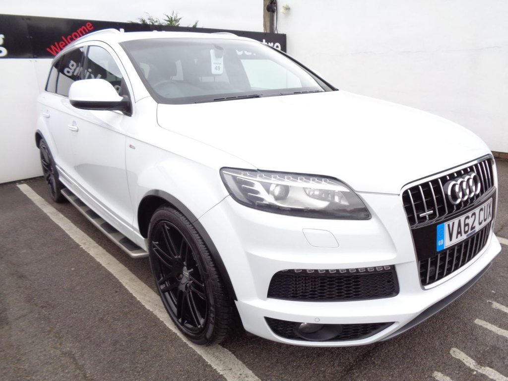 USED 2013 62 AUDI Q7 3.0 TDI QUATTRO S LINE PLUS 5d 245 BHP 4x4 awd 4wd supplied with Satellite navigation  bluetooth  panoramic roof   leather trim parking sensors  privacy glass  full service history climate control