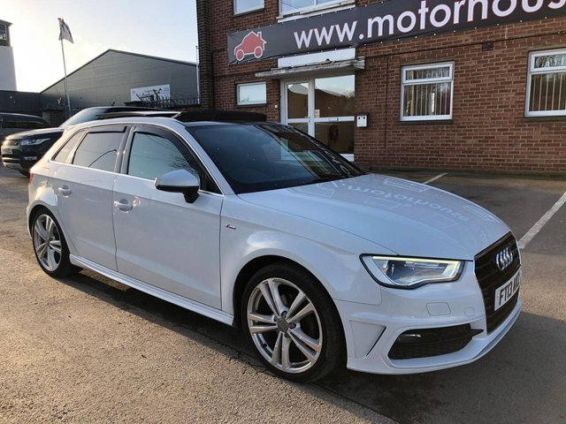 USED 2013 13 AUDI A3 2.0 TDI S LINE 5d 148 BHP S LINE EXAMPLE WITH ALLOY WHEELS, DAB RADIO, SATELLITE NAVIGATION, FLAT BOTTOM MULTI FUNCTION STEERING WHEEL, ELECTRIC SUN ROOF, S LINE HALF LEATHER SEATS, AUDI MEDIA INTERFACE, PRIVACY GLASS
