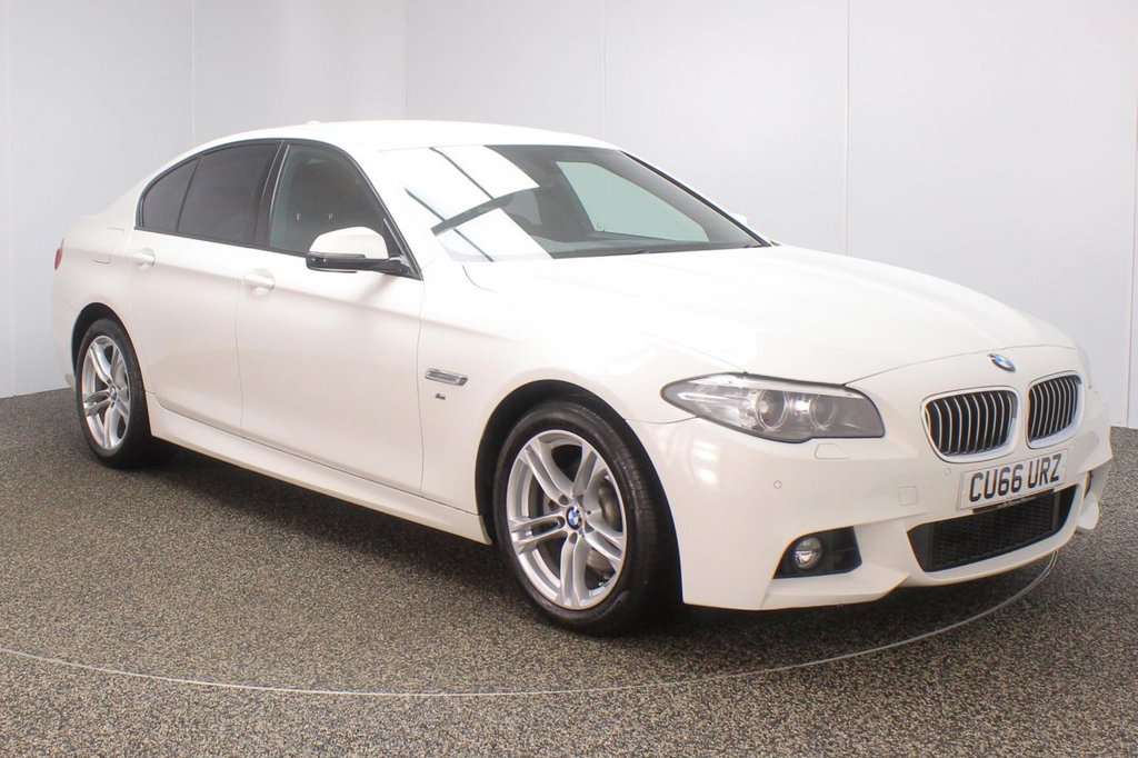 USED 2016 66 BMW 5 SERIES 2.0 520D M SPORT 4DR AUTO 1 OWNER 188 BHP + SAT NAV + LEATHER FULL SERVICE HISTORY + £30 12 MONTHS ROAD TAX + HEATED LEATHER SEATS + SATELLITE NAVIGATION + PARKING SENSOR + BLUETOOTH + CRUISE CONTROL + CLIMATE CONTROL + MULTI FUNCTION WHEEL + DAB RADIO + PRIVACY GLASS + XENON HEADLIGHTS + ELECTRIC FRONT SEATS + ELECTRIC WINDOWS + ELECTRIC MIIRRORS + 18 INCH ALLOY WHEELS