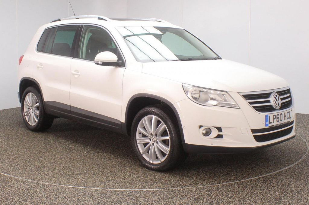 USED 2011 60 VOLKSWAGEN TIGUAN 2.0 MATCH TDI 4MOTION DSG 5DR AUTO 138 BHP + PAN ROOF + SAT NAV + BLACK LEATHER FULL SERVICE HISTORY + HEATED LEATHER SEATS + PANORAMIC ROOF + SATELLITE NAVIGATION + PARK ASSIST + PARKING SENSOR + BLUETOOTH + CLIMATE CONTROL + MULTI FUNCTION WHEEL + RADIO/CD/AUX/USB + ELECTRIC WINDOWS + ELECTRIC MIRRORS + ALLOY WHEELS