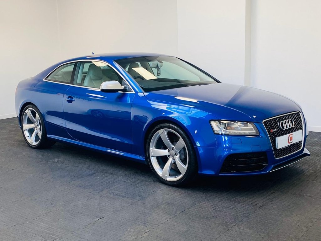 USED 2011 11 AUDI RS5 4.2 FSI QUATTRO 2d 444 BHP AUDI HISTORY + SAT NAV + SEPANG  BLUE WITH CREAM LEATHER + ONLY 59K MILES + 2 KEYS
