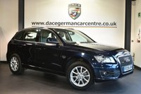"""USED 2009 09 AUDI Q5 2.0 TDI QUATTRO SE DPF 5DR 168 BHP Finished in a stunning metallic blue styled with 18"""" alloys. Upon opening the drivers door you are presented with full leather interior, full service history, satellite navigation, bluetooth, heated seats, cruise control, multi functional steering wheel, heated mirrors, auxiliary port, air conditioning, parking sensors"""