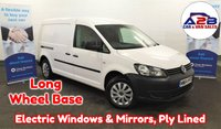 2014 VOLKSWAGEN CADDY MAXI  1.6 TDI C20 STARTLINE 101 BHP Long Wheel Base in White with Electric WIndows & Mirrors, 2 Sliding Doors, Ply Lined with Ply Racking and more £6480.00