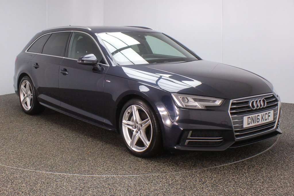 USED 2016 16 AUDI A4 AVANT 2.0 TDI S LINE 4DR AUTO 188 BHP FULL SERVICE HISTORY + £30 12 MONTHS ROAD TAX + HALF LEATHER SEATS + SATELLITE NAVIGATION + HEAD-UP DISPLAY + BLUETOOTH + CRUISE CONTROL + CLIMATE CONTROL + MULTI FUNCTION WHEEL + XENON HEADLIGHTS + PRIVACY GLASS + DAB RADIO + ELECTRIC WINDOWS + ELECTRIC/HEATED DOOR MIRRORS + 18 INCH ALLOY WHEELS