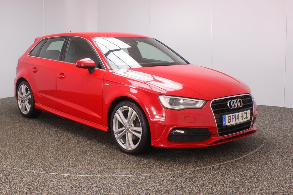 USED 2014 14 AUDI A3 2.0 TDI S LINE 5DR AUTO 148 BHP SERVICE HISTORY + £30 12 MONTHS ROAD TAX + HALF LEATHER SEATS + BLUETOOTH + CLIMATE CONTROL + MULTI FUNCTION WHEEL + XENON HEADLIGHTS + DAB RADIO + ELECTRIC WINDOWS + ELECTRIC MIRRORS + 17 INCH ALLOY WHEELS