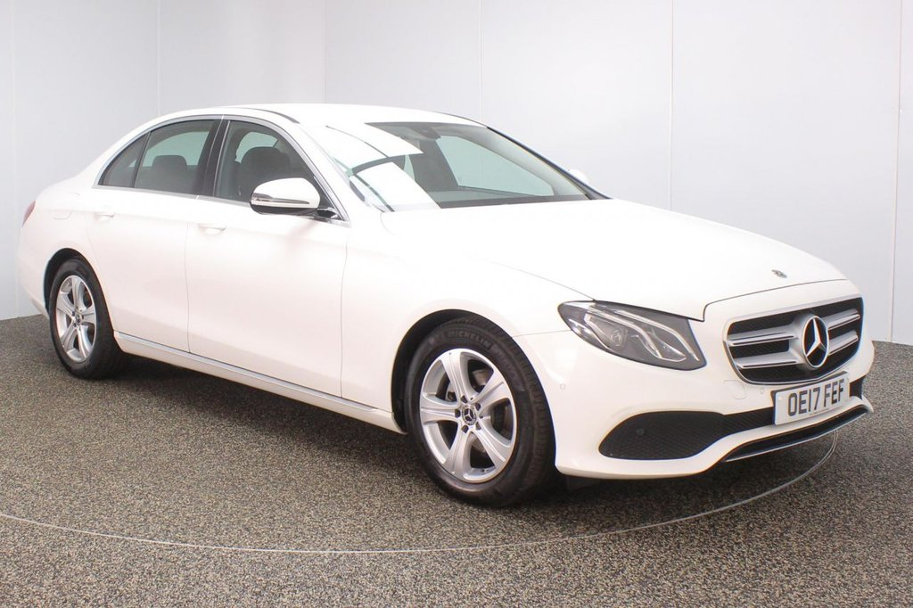USED 2017 17 MERCEDES-BENZ E CLASS 2.0 E220D SE 4DR 192 BHP 1 OWNER FULL SERVICE HISTORY + HEATED LEATHER SEATS + SATELLITE NAVIGATION + REVERSE CAMERA + ACTIVE PARK ASSIST + PARKING SENSOR + BLUETOOTH + CRUISE CONTROL + CLIMATE CONTROL + MULTI FUNCTION WHEEL + DAB RADIO + ELECTRIC SEATS + ELECTRIC WINDOWS + ELECTRIC/HEATED DOOR MIRRORS + 17 INCH ALLOY WHEELS