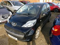USED 2009 59 PEUGEOT 107 1.0 URBAN 5d 68 BHP MOT 11/20 BLACK MET WITH BLACK CLOTH TRIM. COLOUR CODED TRIMS. R/CD PLAYER. MOT 11/20. AGE/MILEAGE RELATED SALE. P/X CLEARANCE CENTRE - LS23 7FQ. TEL 01937 849492 OPTION 3