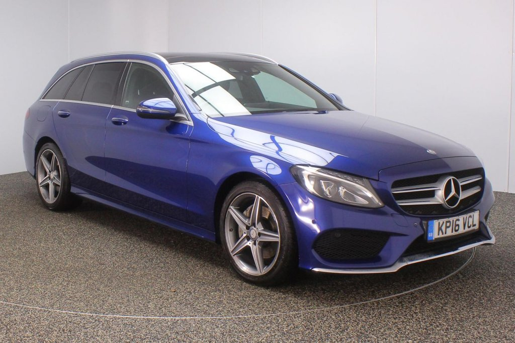 USED 2016 16 MERCEDES-BENZ C CLASS 2.1 C220 D AMG LINE PREMIUM PLUS 5DR AUTO 170 BHP FULL SERVICE HISTORY + £30 12 MONTHS ROAD TAX + HEATED LEATHER SEATS + SATELLITE NAVIGATION + PANORAMIC ROOF + REVERSE CAMERA + ACTIVE PARK ASSIST + BLUETOOTH + CRUISE CONTROL + CLIMATE CONTROL + MULTI FUNCTION WHEEL + ELECTRIC/MEMORY FRONT SEATS + DAB RADIO + ELECTRIC WINDOWS + ELECTRIC/HEATED/FOLDING DOOR MIRRORS + 18 INCH ALLOY WHEELS