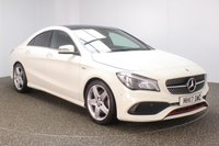 USED 2017 17 MERCEDES-BENZ CLA 2.0 CLA 250 AMG 4DR 1 OWNER 215 BHP FULL MERCEDES SERVICE HISTORY + HALF LEATHER SEATS + SATELLITE NAVIGATION + REVERSE CAMERA + ACTIVE PARK ASSIST + PANORAMIC ROOF + BLUETOOTH + CRUISE CONTROL + CLIMATE CONTROL + MULTI FUNCTION WHEEL + XENON HEADLIGHTS + PRIVACY GLASS + ELECTRIC WINDOWS + ELECTRIC/HEATED/FOLDING DOOR MIRRORS + 18 INCH ALLOY WHEELS