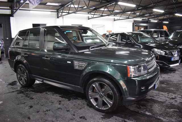 USED 2010 10 LAND ROVER RANGE ROVER SPORT 3.6 TDV8 SPORT HSE 5d 269 BHP STUNNING FINISHED IN GALWAY GREEN WITH TAN LEATHER - HSE - 3.6TDV8 - 9 STAMPS TO 85K @ LANDROVER - H/SEATS - PRIVACY GLASS - 20 INCH LUX ALLOYS