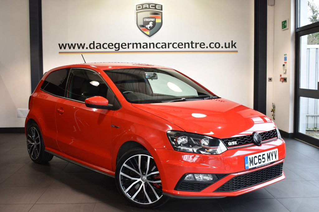 """USED 2016 65 VOLKSWAGEN POLO 1.8 GTI 3DR 189 BHP Finished in a stunning red styled with 17"""" alloys. Upon opening the drivers door you are presented with cloth upholstery, full service history, bluetooth, DAB radio, sport seats, multi functional steering wheel, heated mirrors, USB/AUX port, air conditioning, privacy glass, ULEZ EXEMPT"""