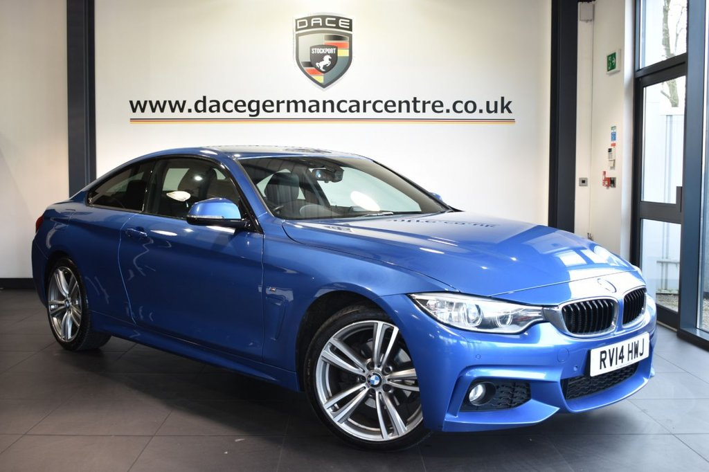 """USED 2014 14 BMW 4 SERIES 2.0 420D XDRIVE M SPORT 2d AUTO 181 BHP full service history  Finished in a stunning estoril metallic blue styled with 19"""" alloys. Upon entry you are presented with full black leather interior, full service history, satellite navigation, bluetooth, cruise control, heated sport seats, parking sensors, xenon headlights, M sport package, light package, DAB radio, sun protection glass, headlight cleaning system, adaptive headlights, rain sensors, teleservices"""