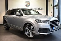 """USED 2015 65 AUDI Q7 3.0 TDI QUATTRO S LINE 5DR AUTO 269 BHP Finished in a stunning metallic silver styled with upgraded 21"""" alloys. Upon opening the drivers door you are presented with half leather interior, full service history, satellite navigation, bluetooth, virtual cockpit, xenon lights, reversing camera, heated electric seats, 7 seats, cruise control, front/rear climate control, multi functional steering wheel, heated electric folding mirrors, parking sensors, ULEZ EXEMPT"""