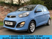 USED 2011 61 KIA PICANTO 1.0 2 5d 68 BHP 3 OWNERS, FULL MAIN DEALER SERVICE HISTORY, £0 TAX, 1YR MOT, EXCELLENT CONDITION,  ALLOYS, AIR CON, BLUETOOTH, RADIO CD, E/WINDOWS, R/LOCKING, FREE WARRANTY, FINANCE AVAILABLE, HPI CLEAR, PART EXCHANGE WELCOME,