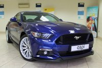 USED 2016 16 FORD MUSTANG 5.0 GT 2d 410 BHP DEEP IMPACT BLUE METALLIC,  PREMIUM BLACK LEATHER, SHAKER PRO SAT NAV, CUSTOM PACK, REVERSE PARKING SENSOR, SHAKER PRO PREMIUM AUDIO SYSTEM, REAR VIEW CAMERA, CLIMATE CONTROL SEATS, Bi XENONS, ELECTRIC FOLDING MIRRORS WITH PUDDLE LAMP, ELEC FRONT SEATS, LUMBAR SUPPORT, SPORT SEATS, PADDLE SHIFT,  APPLE CAR PLAY, CRUISE CONTROL, BLUETOOTH WITH VOICE CONTROL
