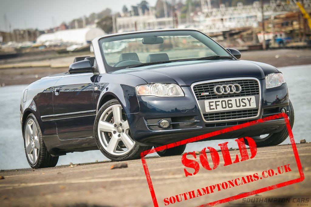 USED 2006 06 AUDI A4 2.0 TURBO TFSI S-Line Convertible 2dr [NEW MOT+SERVICE] FULL BLACK LEATHER SEATS_BLUE ROOF with REAR GLASS WINDOW