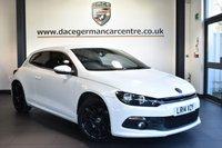 "USED 2014 14 VOLKSWAGEN SCIROCCO 2.0 R LINE TDI 2DR 175 BHP Finished in a stunning white styled with 18"" alloys. Upon opening the drivers door you are presented with full black leather interior, full service history, satellite navigation, bluetooth, heated sport seats, cruise control, DAB radio, multi functional steering wheel, heated mirrors, climate control, parking sensors"