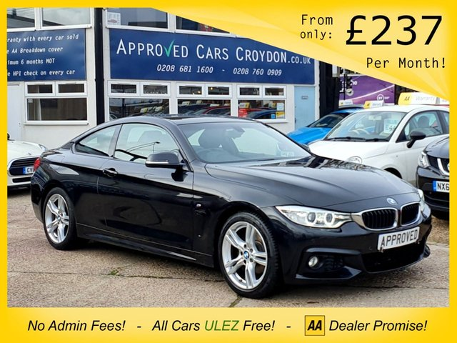 USED 2017 66 BMW 4 SERIES 2.0 420D M SPORT 2d 188 BHP MEDIA SCREEN WITH SAT NAV, BLUETOOTH AUX AND MEDIA CONNECTION, AUTO STOP/START FUNCTION, ECO/ SPORT DRIVING MODE, HEATED LEATHER SEATS, PARKING SENSORS, VOICE COMMAND FUNCTION, AUTOMATIC HEADLIGHTS, ELECTRIC WING MIRRORS, ELECTRIC WINDOWS, AIR CONDITIONING AND ALLOY WHEELS