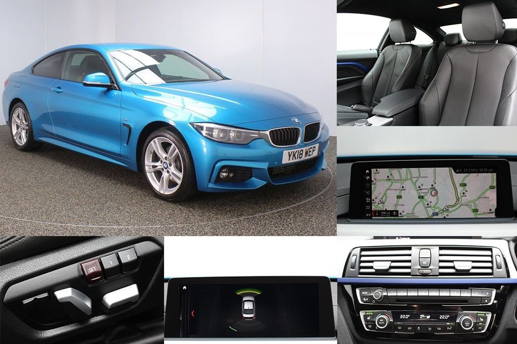 USED 2018 18 BMW 4 SERIES 3.0 430D XDRIVE M SPORT 2DR AUTO 255 BHP FULL LEATHER + SAT NAV FULL BMW SERVICE HISTORY + HEATED LEATHER SEATS + SATELLITE NAVIGATION PROFESSIONAL + PARKING SENSOR + BLUETOOTH + CRUISE CONTROL + CLIMATE CONTROL + MULTI FUNCTION WHEEL + XENON HEADLIGHTS + PRIVACY GLASS + DAB RADIO + ELECTRIC WINDOWS + ELECTRIC/HEATED DOOR MIRRORS + 18 INCH ALLOY WHEELS