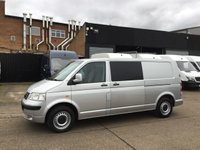 USED 2006 56 VOLKSWAGEN TRANSPORTER 2.5TDI T30 LWB KOMBI CREW VAN 130BHP. 6 SEATS. AC. FINANCE. PX AIRCON. ELEC PACK. SILVER COLOUR CODED. LOW MILES. PX
