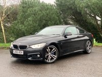"""USED 2015 65 BMW 4 SERIES 2.0 420D M SPORT 2d 188 BHP M SPORT, FULL BMW SERVICE HISTORY,JUST SERVICED, AUTOMATIC, PRO NAV, HARMAN KARDON AUDIO, PRIVACY GLASS, EXTENDED PIANO TRIM, HEATED LEATHER, 19"""" TWIN SPOKE WHEELS,"""