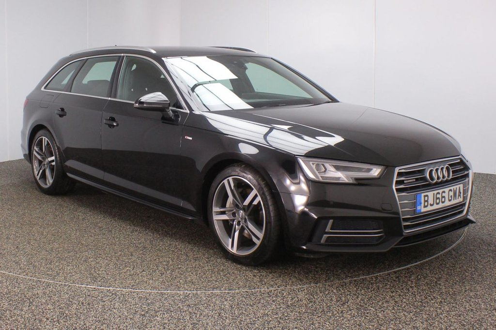 USED 2016 66 AUDI A4 AVANT 2.0 AVANT TDI QUATTRO S LINE 5DR AUTO 1 OWNER 188 BHP FULL AUDI SERVICE HISTORY + £30 12 MONTHS ROAD TAX + HALF LEATHER SEATS + SATELLITE NAVIGATION + PARKING SENSOR + BLUETOOTH + CRUISE CONTROL + CLIMATE CONTROL + MULTI FUNCTION WHEEL + XENON HEADLIGHTS + DAB RADIO + ELECTRIC WINDOWS + RADIO/CD/AUX/USB + ELECTRIC/HEATED DOOR MIRRORS + 18 INCH ALLOY WHEELS