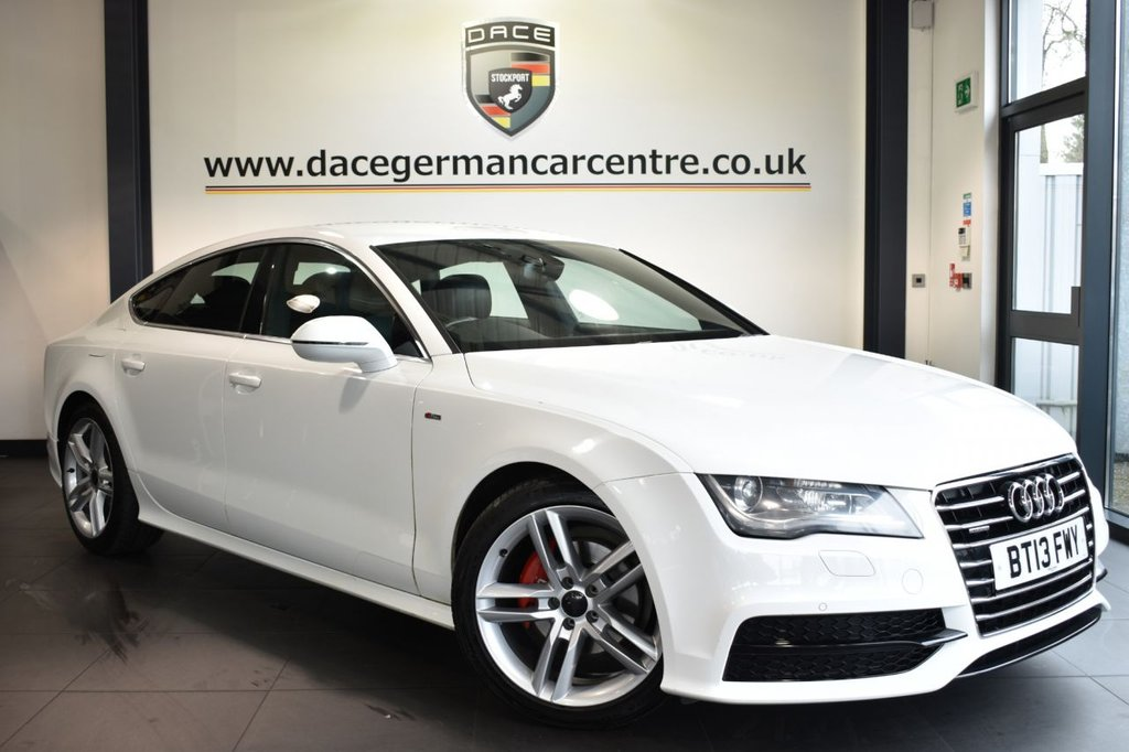 "USED 2013 13 AUDI A7 3.0 TDI QUATTRO S LINE 5DR AUTO 204 BHP Finished in a stunning ibis white styled with 19"" alloys. Upon opening the drivers door you are presented with full leather interior, full service history, satellite navigation, bluetooth, heated sport seats with memory, xenon lights, DAB radio, cruise control, multi functional steering wheel, climate control, heated mirrors, parking sensors, ULEZ EXEMPT"