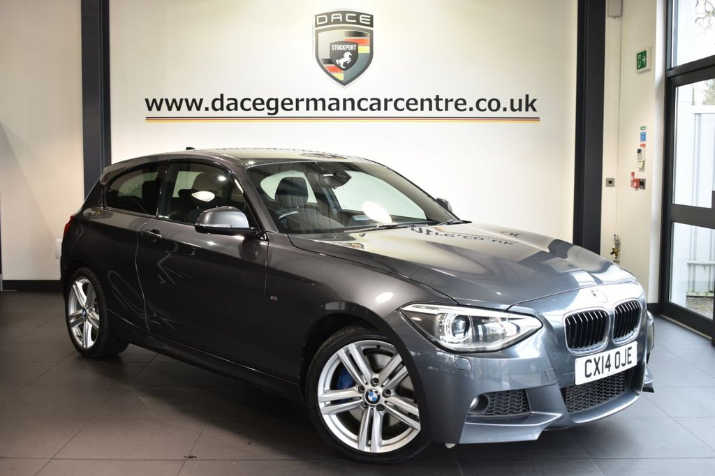 """USED 2014 14 BMW 1 SERIES 1.6 116I M SPORT 3DR 135 BHP Finished in a stunning minerla metallic grey styled with 18"""" alloys. Upon opening the drivers door you are presented with anthracite upholstery, full service history, bluetooth, harman/kardon surround sound, DAB radio, cruise control, Multifunction steering wheel, Automatic air conditioning, rain sensors, privacy glass, parking sensors, ULEZ EXEMPT"""