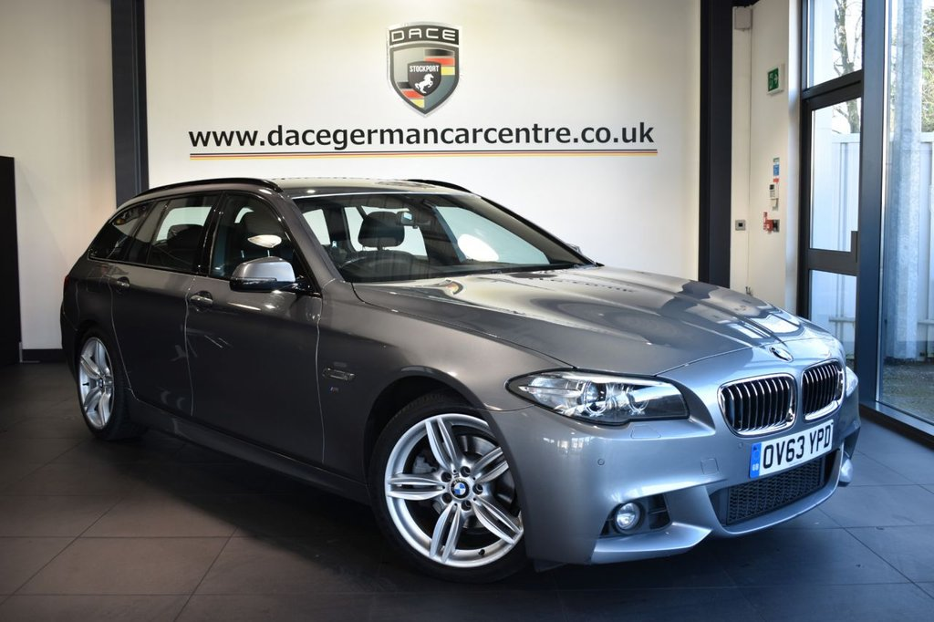 "USED 2013 63 BMW 5 SERIES 2.0 520D M SPORT TOURING 5d AUTO 181 BHP Finished in a stunning space metallic grey styled with 19"" alloys. Upon opening the drivers door you are presented with full leather interior, full service history, pro satellite navigation, bluetooth, heated seats, DAB radio, LED fog lights, Interior/outside mirror with auto dip, Headlight cleaning system, Driving experience switch incl. ECO PRO, parking sensors, ULEZ EXEMPT"