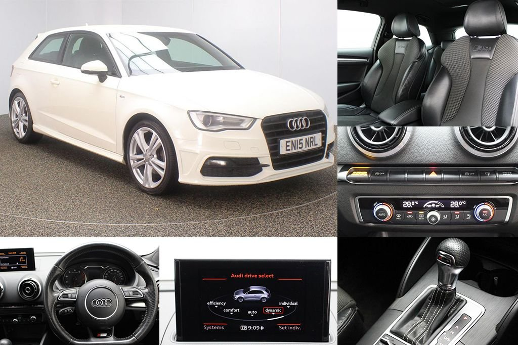 USED 2015 15 AUDI A3 1.4 TFSI S LINE 3DR S TRONIC AUTO 124 BHP SERVICE HISTORY + £30 12 MONTHS ROAD TAX + HALF LEATHER SEATS + PARKING SENSOR + BLUETOOTH + S TRONIC AUTO +  CRUISE CONTROL + CLIMATE CONTROL + MULTI FUNCTION WHEEL + XENON HEADLIGHTS + DAB RADIO + ELECTRIC WINDOWS + ELECTRIC MIRRORS + 18 INCH ALLOY WHEELS