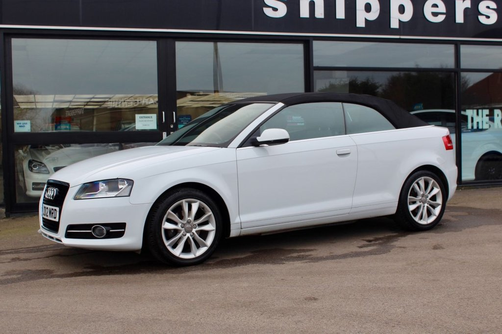 "USED 2012 12 AUDI A3 1.2 TFSI SPORT 2d 105 BHP Great looking Audi A3 Cabriolet, Bluetooth Phone, Thatcham Category 1 Alarm and Immobiliser, Noise Dampening Acoustic Hood, 17"" Alloys, Electric Front And Rear Windows, 3 Spoke Multi Function Sports Steering Wheel, Fully Automatic Electrically Operated Roof, 2 Keys and Book Pack, Full Service History - 7 Stamps last done at 41K."