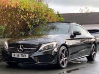 USED 2018 18 MERCEDES-BENZ C CLASS 3.0 C43 V6 AMG (Premium Plus) G-Tronic+ 4MATIC (s/s) 2dr OBSIDIAN BLACK /PANORAMIC ROOF