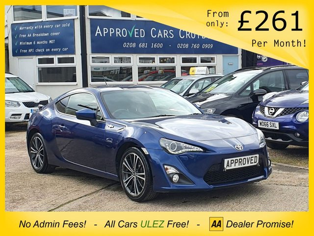 USED 2014 63 TOYOTA GT86 2.0 D-4S 2d 197 BHP TOUCH SCREEN MEDIA SCREEN WITH AUX AND USB MEDIA CONNECTION, DAB RADIO, CD PLAYER, SPORT/SNOW MODE ELETRIC FOLDING WING MIRRORS, ELETRIC WINDOWS, AIR CONDITIONING AND ALLOY WHEELS