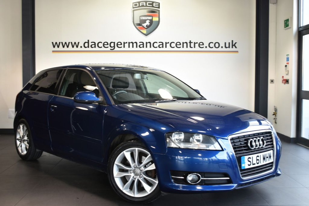 """USED 2011 61 AUDI A3 2.0 TDI SPORT 3d 168 BHP Finished in a stunning scuba metallic blue styled with 17"""" alloys. Upon opening the drivers door you are presented with cloth upholstery, full service history, satellite navigation, heated seats, cruise control, sport seats, multi functional steering wheel, heated mirrors, auxiliary port, air conditioning, parking sensors"""