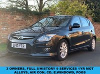 USED 2010 10 HYUNDAI I30 1.4 COMFORT 5d 108 BHP 3 OWNERS, FULL SERVICE HISTORY 9 SERVICES,  1YR MOT, EXCELLENT CONDITION,  ALLOYS, AIR CON, RADIO CD, E/WINDOWS, R/LOCKING, FREE WARRANTY, FINANCE AVAILABLE, HPI CLEAR, PART EXCHANGE WELCOME,