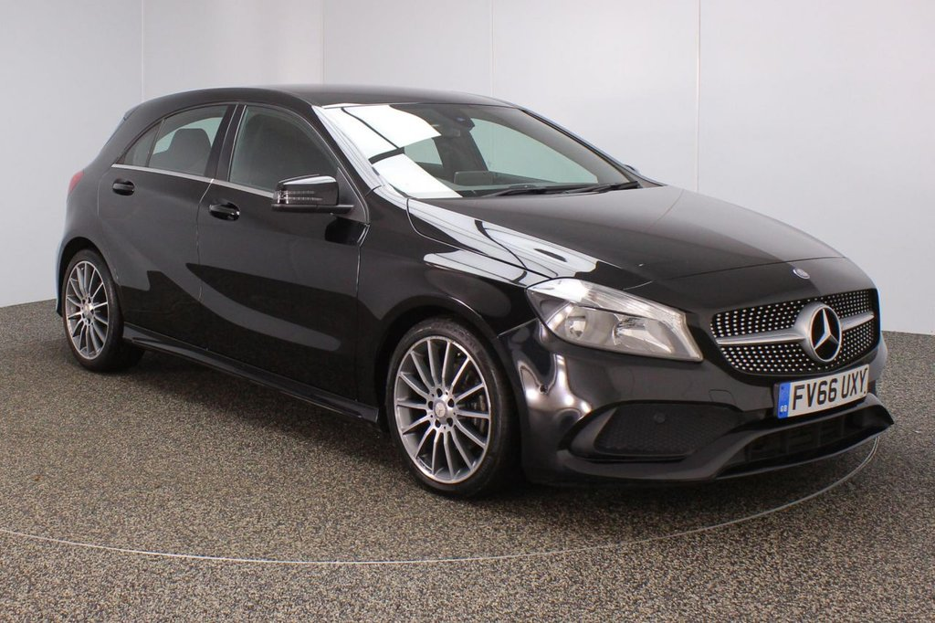 USED 2017 66 MERCEDES-BENZ A CLASS 2.1 A 200 D AMG LINE EXECUTIVE 5DR 134 BHP 1 OWNER FULL SERVICE HISTORY + £30 12 MONTHS ROAD TAX + HEATED HALF LEATHER SEATS + SATELLITE NAVIGATION + REVERSE CAMERA + ACTIVE PARK ASSIST + PARKING SENSOR + BLUETOOTH + CRUISE CONTROL + CLIMATE CONTROL + MULTI FUNCTION WHEEL + RADIO/CD/USB + ELECTRIC WINDOWS + ELECTRIC/HEATED DOOR MIRRORS +  18 INCH ALLOY WHEELS