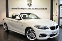 """USED 2015 15 BMW 2 SERIES 2.0 220D M SPORT 2DR 188 BHP Finished in a stunning alpine white styled with 18"""" alloys. Upon opening the drivers door you are presented with Alcantara/anthracite upholstery, full service history, pro satellite navigation, bluetooth, heated sport seats, cruise control, harman/kardon surround sound, DAB radio, Automatic air conditioning, Multifunction steering wheel, Interior mirror with automatic-dip, Rain sensors, parking sensors, ULEZ EXEMPT"""