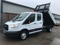 USED 2016 66 FORD TRANSIT 350 125PS LWB L3 FACTORY DOUBLE CAB TIPPER **VERY LOW MILES**