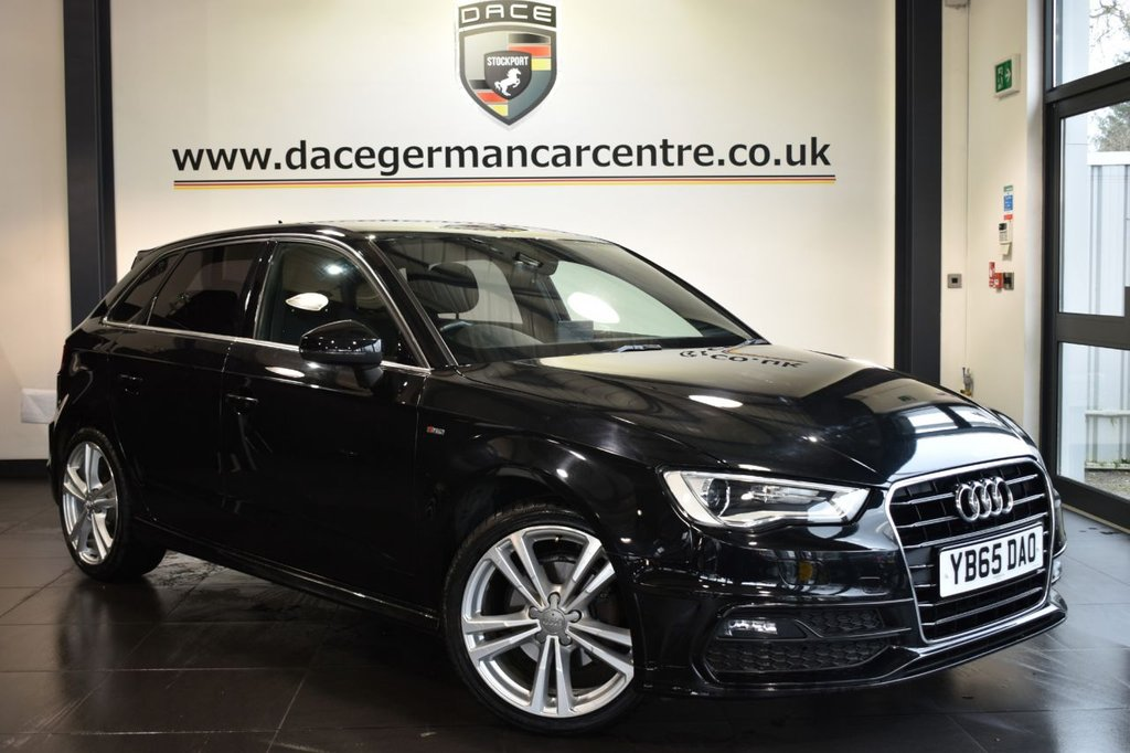 "USED 2016 65 AUDI A3 1.4 TFSI S LINE NAV 5DR 148 BHP Finished in a stunning black styled with 18"" alloys. Upon opening the drivers door you are presented with half black letaher interior, full service history, satellite navigation, bluetooth, DAB radio, climate control, multi functional steering wheel, heated mirrors, usb/aux port, ULEZ EXEMPT"