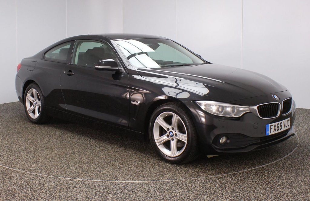 USED 2015 65 BMW 4 SERIES 2.0 420D SE 2DR 1 OWNER 188 BHP FULL SERVICE HISTORY + £30 12 MONTHS ROAD TAX + HEATED LEATHER SEATS + SATELLITE NAVIGATION + PARKING SENSOR + BLUETOOTH + CRUISE CONTROL + CLIMATE CONTROLO + MULTI FUNCTION WHEEL + XENON HEADLIGHTS + DAB RADIO + ELECTRIC WINDOWS + ELECTRIC MIRRORS + 17 INCH ALLOY WHEELS
