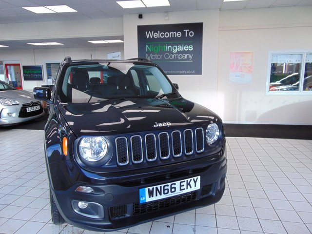 USED 2016 66 JEEP RENEGADE 2.0 D M-JET LONGITUDE 5d 138 BHP  4 X 4  SERVICE HISTORY + SEPTEMBER  MOT + SATELLITE NAVIGATION + BLUETOOTH + CRUISE CONTROL + CLIMATE CONTROL + TRACTION CONTROL + ABS + AIR CONDITIONING + ALLOYS + CRUISE CONTROL + DAB RADIO + ALARM