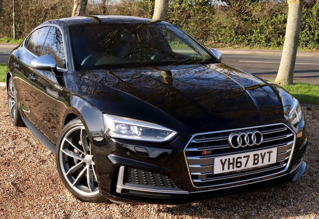 "USED 2017 67 AUDI S5 3.0 S5 SPORTBACK TFSI QUATTRO 5d 349 BHP AUTOMATIC WITH PRO SAT NAV/ S BODY STYLING/ LED LIGHTS/ S5 LOGOS/ MASSAGING &ELECTRIC SEATS/ PARKING SENSORS/ DRIVE MODES/ DRIVE ASSIST/ CRUISE CONTROL/ LUXURY LEATHER HEATED SEATS/ BLUETOOTH/ / 19'IN ALLOYS/ HIGH BEAM ASSISTANT/ BLACK HEADLINING/ DAB/  WITH FULL SERVICE HISTORY/ NEW SERVICE @24K MILEAGE/  1 YEAR NEW MOT // WARRANTY/ 1 KEY/ HPI CLEARED/  BOOK A TEST DRIVE TODAY! APPLY FOR A CAR FINANCE ON OUR WEBSITE PAGE ""FINANCE"""