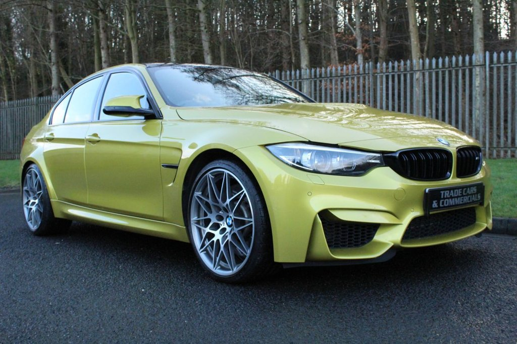 USED 2018 18 BMW M3 3.0 M3 COMPETITION PACKAGE 4d 444 BHP A STUNNING LOW MILEAGE EXAMPLE IN RARE AUSTIN GELB METALLIC!!!