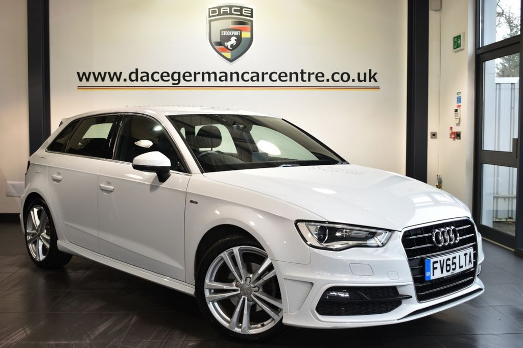 """USED 2016 65 AUDI A3 2.0 TDI S LINE NAV 5DR 148 BHP Finished in a stunning white styled with 18"""" alloys. Upon opening the drivers door you are presented with half black leather interior, full service history, satellite navigation, bluetooth, DAB radio, sport seats, multi functional steering wheel, heated mirrors, ULEZ EXEMPT"""