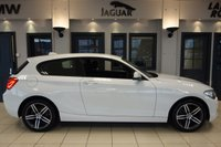 USED 2018 18 BMW 1 SERIES 1.5 118I SPORT 3d 134 BHP FINISHED IN STUNNING ALPINE WHITE WITH CONTRASTING DARK ANTHRACITE CLOTH SEATS + SUMPTUOS PIANO BLACK INTERIOR INLAY + SATELLITE NAVIGATION + DAB DIGITAL RADIO + BLUETOOTH PHONE AND BLUETOOTH MEDIA + FULL BMW MAIN DEALER SERVICE HISTORY + DUAL ZONE AIR CONDITIONING + CLIMATE CONTROL + RAIN SENSORS + PARKING DISTANCE CONTROL + GLOSS BLACK TRIM + ULEZ COMPLIANT + 17 INCH MULTISPOKE ALLOY WHEELS + DRIVER PROFILE SELECTION + DRIVING MODE SELECTION + APP CONNECT + AUTOMATIC HEADLIGHTS + COMES WITH TH
