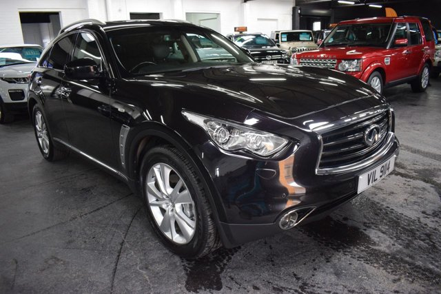 USED 2014 64 INFINITI QX70 3.0 GT D 5d 235 BHP 4X4 LOVELY CONDITION THROUGHOUT - MALBEC BLACK - 6 STAMPS TO 79K - QUILTED LEATHER - NAV - R/CAMERA - HEATED / COOLED SEATS