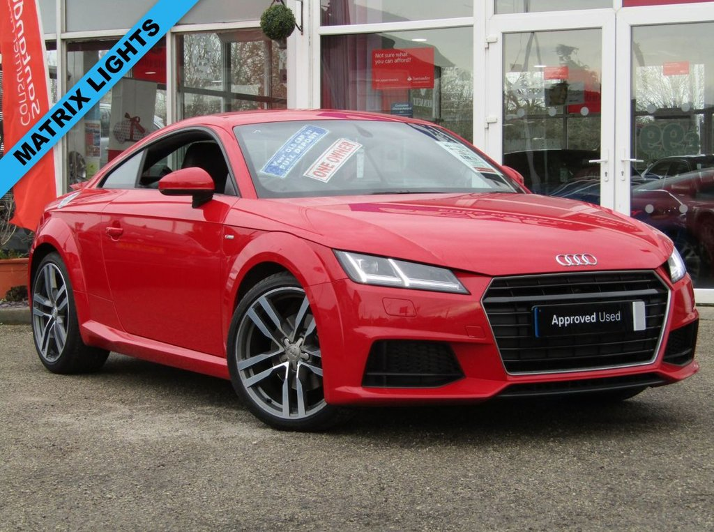 """USED 2016 66 AUDI TT 1.8 TFSI S LINE 2d 178 BHP Finished in TANGO RED with Contrasting EBONY LEATHER / ALCANTARA trim. This third generation AUDI TT is a style icon that stands out in the crowd. The TANGO RED makes it look a lot sportier that the greys, silvers and black TT's around. Features include LED day lights, 19"""" Alloys, DAB radio, Virtual Cockpit, Leather/alcantara and much more. Liverpool Audi Dealer Serviced at 7574 miles, 13215 miles and at 21096 miles. 12 Months MOT."""