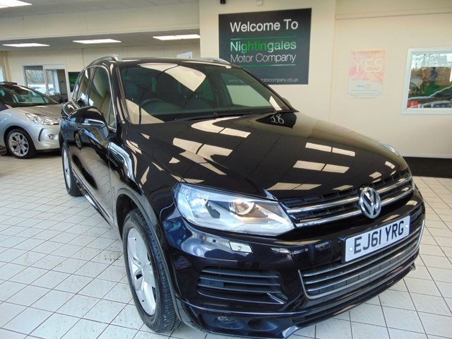"USED 2011 61 VOLKSWAGEN TOUAREG 3.0 V6 ALTITUDE TDI BLUEMOTION TECHNOLOGY 5d 202 BHP FULL SERVICE HISTORY + SATELLITE NAVIGATION + BLUETOOTH + 19"" ALLOYS + AIR CONDITIONING + CD RADIO + REMOTE CENTRAL LOCKING + FULL LEATHER TRIM + HEATED FRONT SEATS + ISOFIX + ALL ELECTRIC WINDOWS"